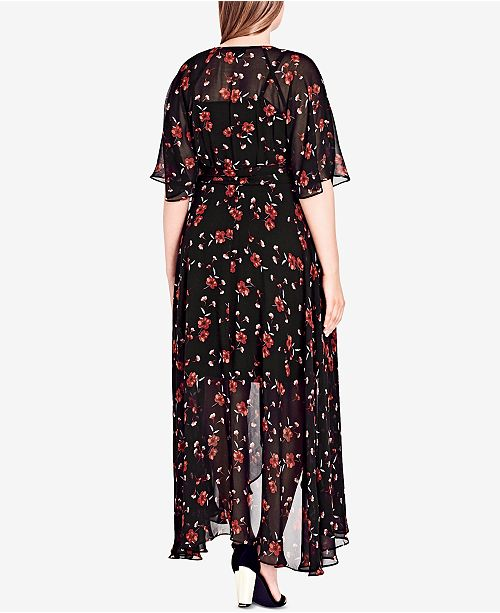 City Chic Trendy Plus Size Fall In Love Floral Wrap Dress Dresses