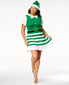 Planet Gold Trendy Plus Size Embellished Holiday Dress & Hat