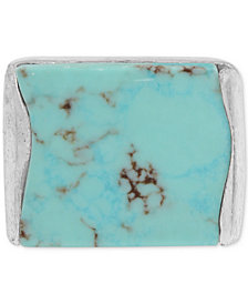 Robert Lee Morris Soho Silver-Tone Blue Stone Ring