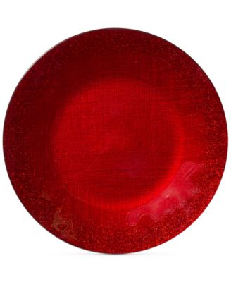 Glitter Glass Red Charger Plate