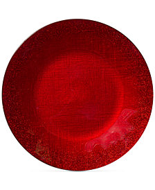 VIETRI Glitter Glass Red Charger Plate