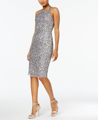 Adrianna Papell Sequined Halter Dress