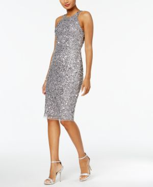 Adrianna Papell Sequined Halter Dress 5229529
