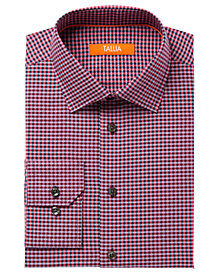 Tallia Men's Fitted Pink Check With Diamond Dobby Dress Shirt