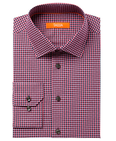 Tallia Men's Fitted Pink Check With Diamond Dobby Dress Shirt ...