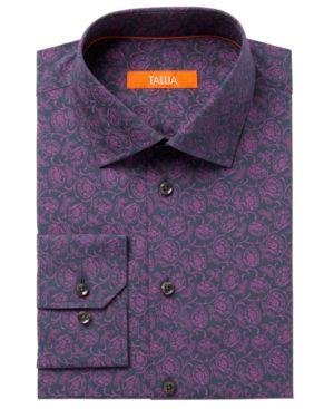 Tallia Men's Fitted Rust Floral Dress Shirt thumbnail
