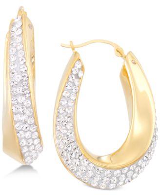 Signature Gold Swarovski Crystal Hoop Earrings in 14k Gold over