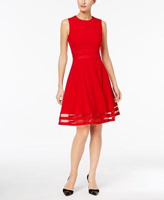 Calvin Klein Illusion Trim Fit Flare Dress Dresses Women Macy S