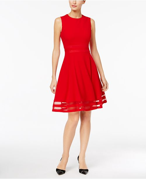 Calvin Klein Illusion Trim Fit Amp Flare Dress Dresses