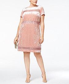 Sangria Plus Size Crushed Velvet Crochet Dress