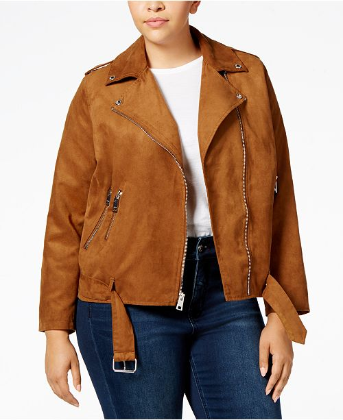 e40ce5f922c Levi s Plus Size Faux-Suede Belted Moto Jacket   Reviews - Jackets ...