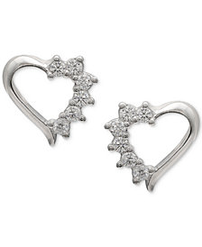 Giani Bernini Cubic Zirconia Open Heart Stud Earrings in Sterling Silver, Created for Macy's