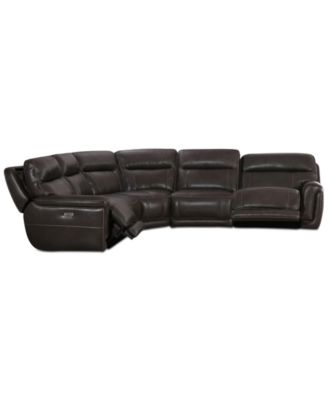Summerbridge 5-Pc. Leather Sectional Sofa with 2 Power Reclining Chairs, Power Headrests and USB Power Outlet