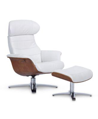 Anniston Leather Swivel Chair Recliner U0026 Ottoman Set