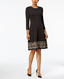 Jessica Howard Contrast Scroll Fit & Flare Sweater Dress