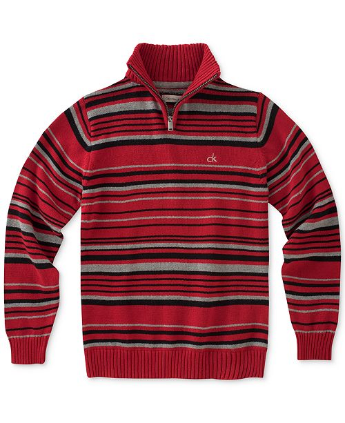 Focal Stripe Quarter-Zip Cotton Sweater, Big Boys