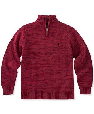 Calvin Klein Marled Quarter-Zip Cotton Sweater, Big Boys ...