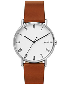 Skagen Men's Signature Brown Leather Strap Watch 40mm