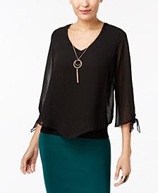 Thalia Sodi V-Hem Tie-Sleeve Top, Created for Macy's