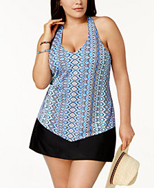 Island Escape Plus Cabo Sands Racerback Underwire Tankini Top & Swim Skirt