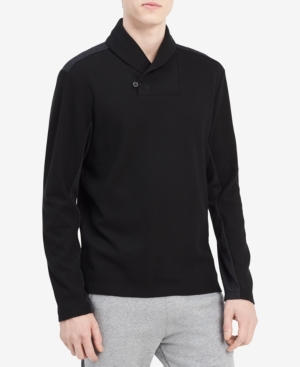 Calvin Klein Cottons MEN'S SHAWL NECK JACQUARD SWEATER