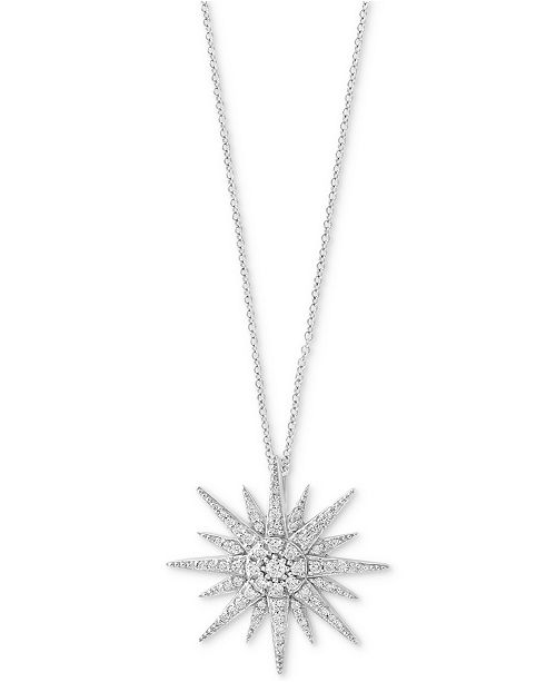 EFFY Collection Pavé Classica by EFFY® Diamond Starbust Pendant Necklace (1/2 ct. t.w.) in 14k White Gold