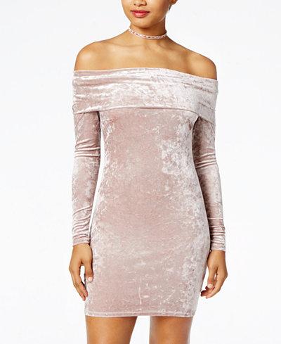 Material Girl Juniors' Velvet Bodycon Dress, Created for Macy's