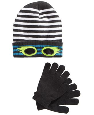 Berkshire 2-Pc. Striped Eye-Hole Hat & Gloves Set, Little Boys & Big Boys