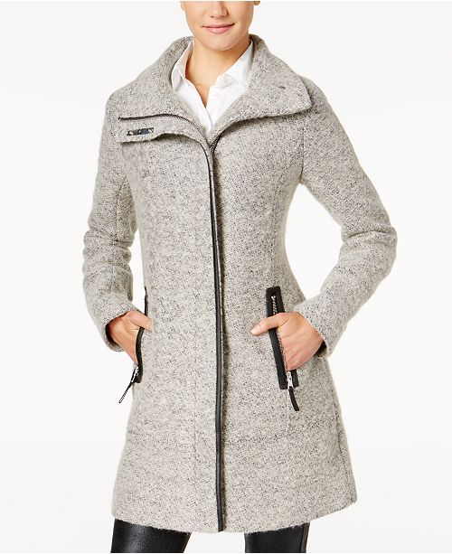 Faux-Leather-Trim Asymmetrical Coat