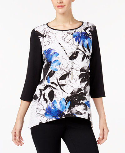 Alfred Dunner High Roller Petite Printed Necklace Top