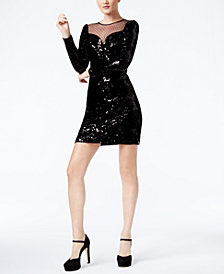 MICHAEL Michael Kors Illusion-Contrast Sequin Dress