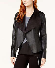 Bar III Flyaway Faux-Leather Jacket, Created for Macy's
