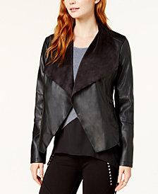 Bar III Flyaway Faux-Leather Jacket, Created for Macy's