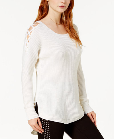 Bar III High-Low Cold-Shoulder Sweater, Created for Macy's