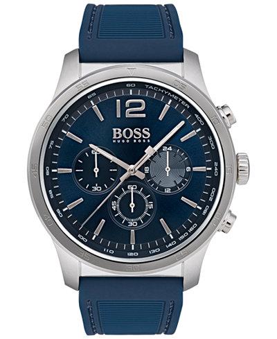 BOSS Hugo Boss Men's Chronograph Professional Blue Rubber Strap Watch 42mm
