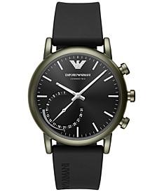 Men's Connected Black Rubber Strap Hybrid Smart Watch 43mm