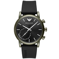 Deals on Emporio Armani Mens Connected Black Rubber Strap Smart Watch