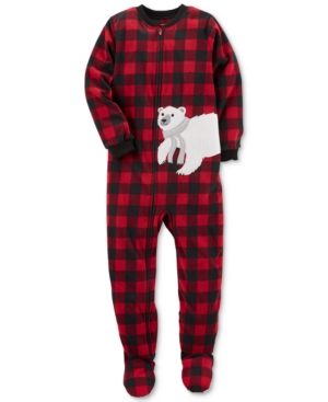 Carters 1Pc Plaid Polar Bear Footed Pajamas Little Boys (47)  Big Boys (820)