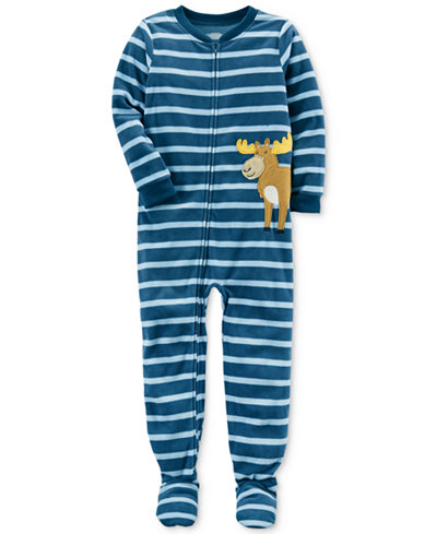 Carter's 1-Pc. Striped Moose Footed Pajamas, Little Boys & Big Boys