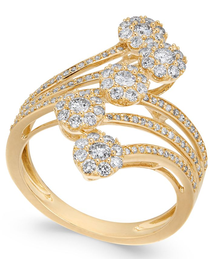 Macy's - Diamond Multiple Cluster Waterfall Statement Ring (1 ct. t.w.) in 14k Gold