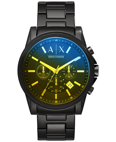 A|X Armani Exchange Men's Chronograph Black Stainless Steel Bracelet Watch 45mm