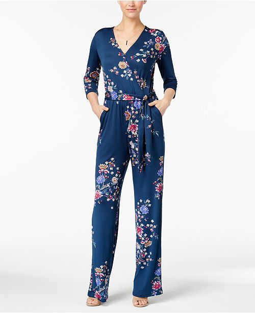 f68426b0b169 Petite Printed Wide-Leg Jumpsuit. Be the first to Write a Review. main  image  main image ...