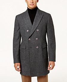 Tallia Men's Gray Herringbone Double-Breasted Topcoat