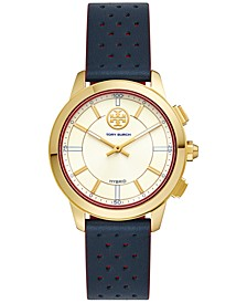 Women's ToryTrack Collins Navy & Red Perforated Leather Strap Hybrid Smart Watch 38mm