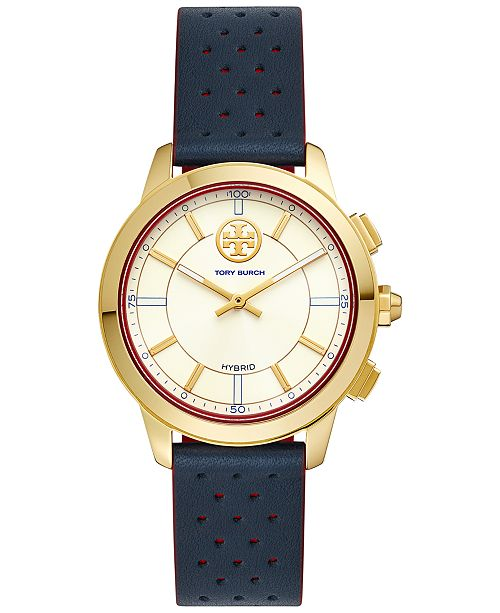 Tory Burch Women's ToryTrack Collins Navy & Red Perforated Leather Strap Hybrid Smart Watch 38mm