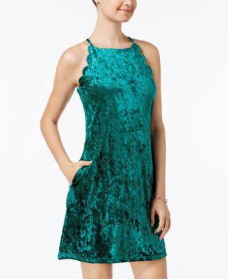 bcx scalloped velvet dress
