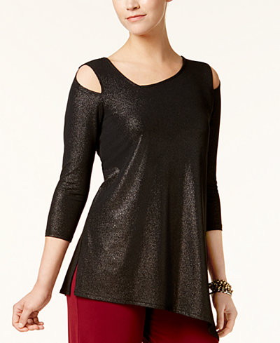 Alfani Asymmetrical Cold-Shoulder Top, Created for Macy's