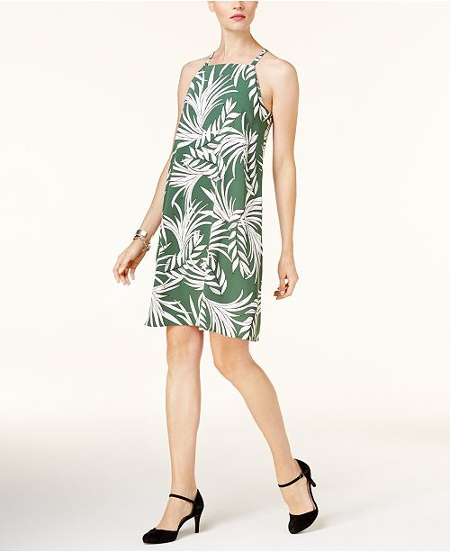 Alfani Leaf-Print Shift Dress, Created for Macy's