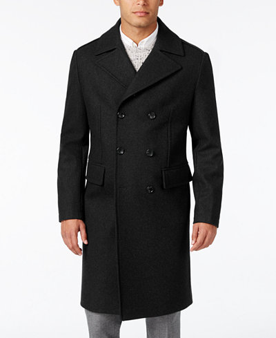 Michael Kors Men's Slim-Fit Double-Breasted Overcoat - Coats ...