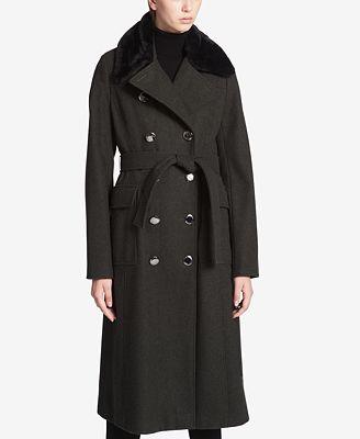 Calvin Klein Faux-Fur-Collar Maxi Trench Coat